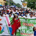 Marcha del Colectivo de Organizaciones Ambientales iniciada en La Vega el pasado domingo con destino al Palacio Nacional contra iniciativas mineras que rechazan.