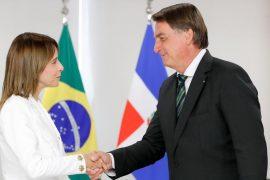 Presidente de Brasil, Jair Bolsonaro y Embajada de Brasil Sra. Patricia Villegas de Jorge.