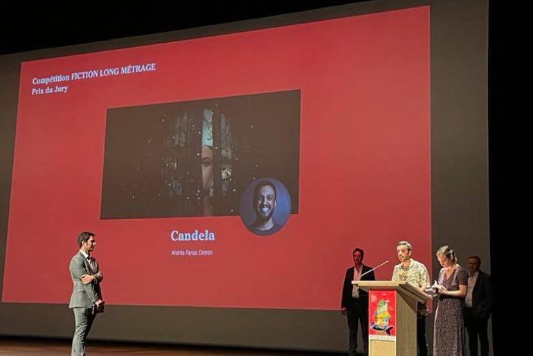 Momento en que se anuncia que Candela, de Andrés Farias, gana el Gran Premio del Jurado en el Festival Francés de Biarriz 2021.