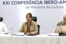 La ministra de Cultura Milagros Germán, Rubén Silié y Giovanny Cruz, encabezaron el encuentro virtual entre repministros culturales iberoamericanos.